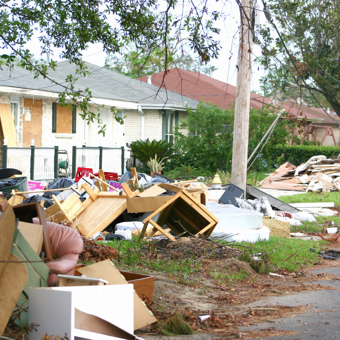 hurricane damage outside of a house